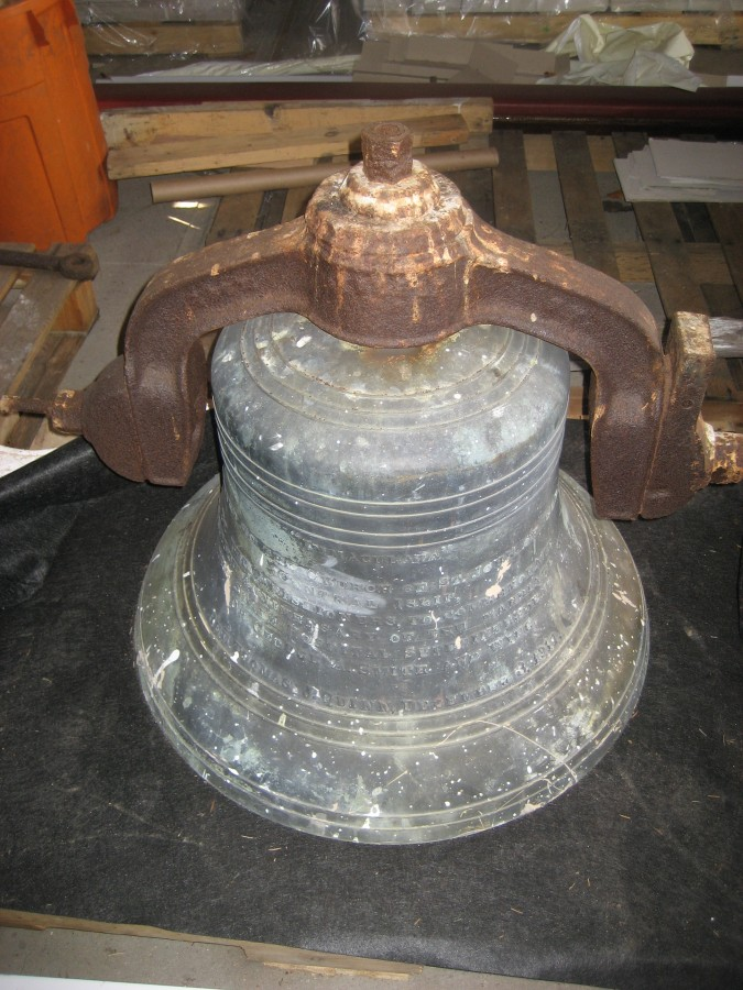 Meneely Bell before restoration was built in 1911 in Troy, NY and hung in Church of St. John Central Islip, NY