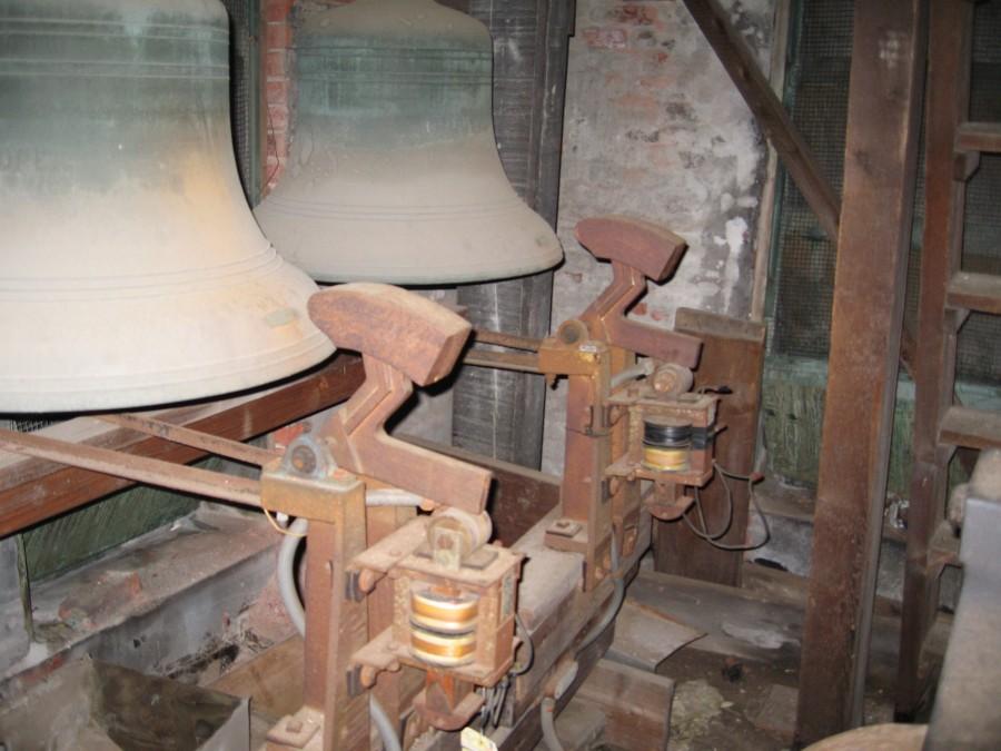 Original 1950s solenoid strikers on Meneely Bell Company's 4 bells at Trinity Epicsopal Church Ossining, NY