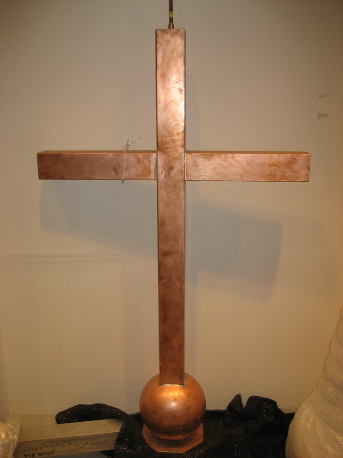 Six foot tall copper cross for top of First Presbyterian Church in Greenwich, CT