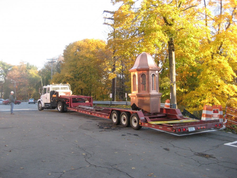 School bell arrives in new copper cupola ready for installation with Chime Master Millennium Controller