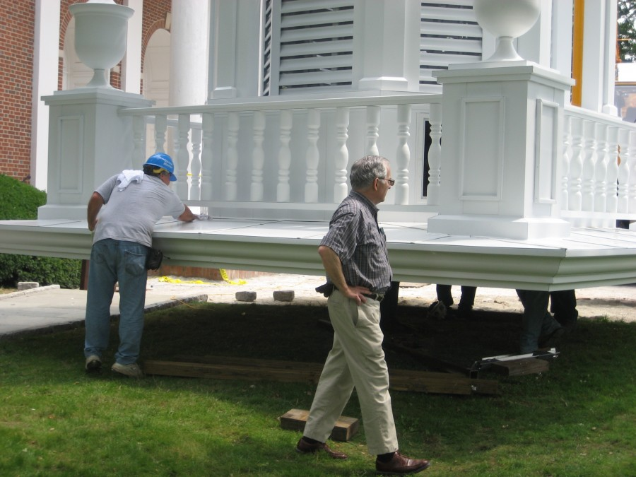 Balustrade system is spun aluminum. Custom designs are available to match existing ballustrades