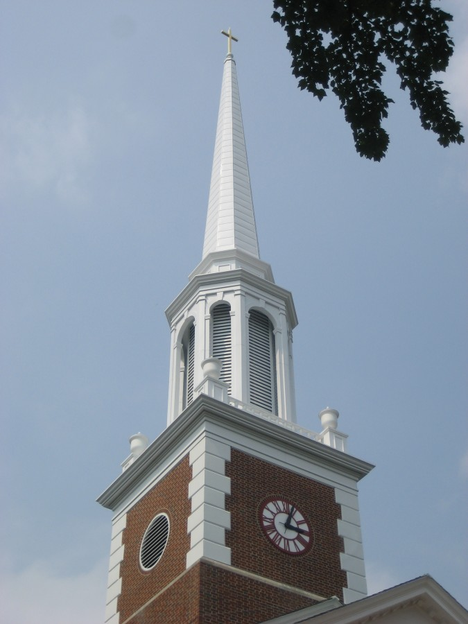 Steeple Replacement Guided by Church Specialities Professionals at Norton Presbyterian. New Steeple by Campbellsville Industries.