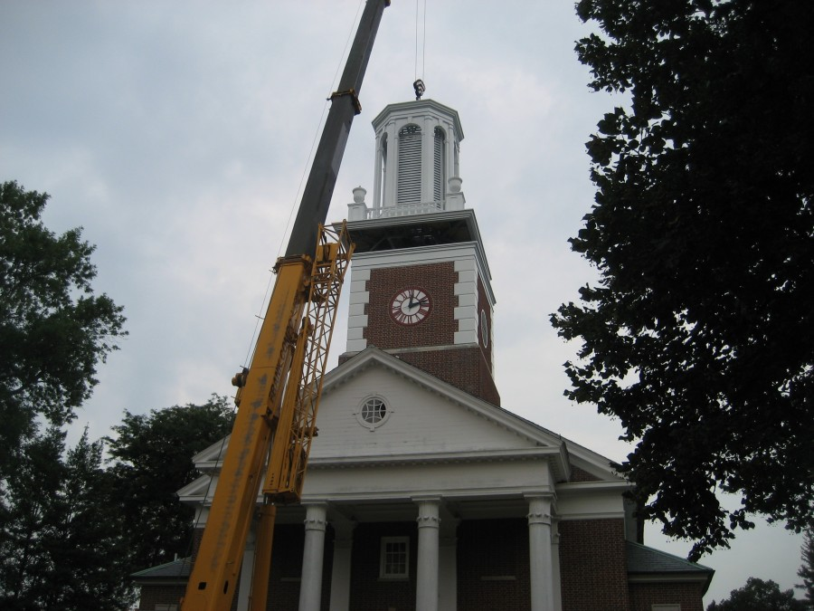 Steeple Replacement assembled in sections and lifted into place