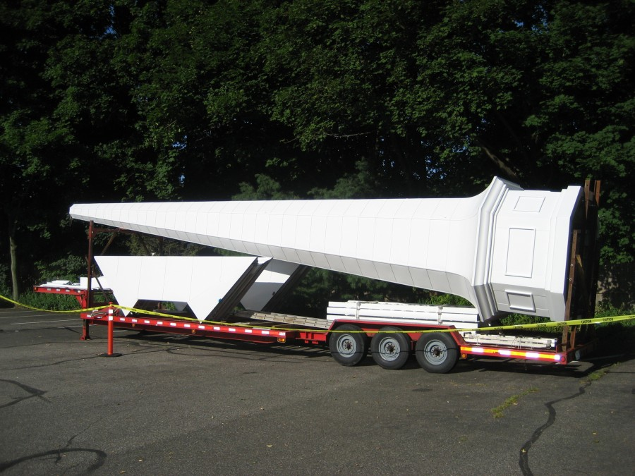 Steeple sections, fabricated in Kentucky are delivered on custom trailers