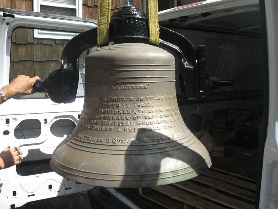 Restored Menelly Bell Company bell ready for hoisting