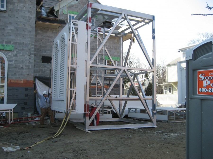 Steeple louver section assembled prior to hoisting