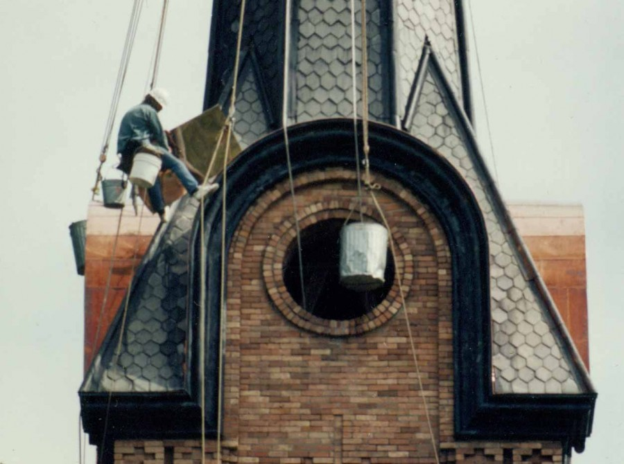 Steeplejack performing repairs